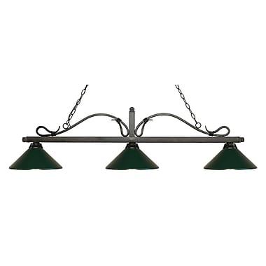 Z-Lite – Luminaire suspendu Melrose pour îlot/table de billard 114-3GB-MDG, 3 amp., vert foncé