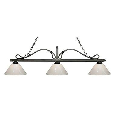 Z-Lite – Luminaire suspendu Melrose pour îlot/table de billard 114-3GB-PWH, 3 amp., blanc