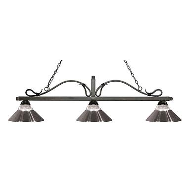 Z-Lite – Luminaire suspendu Melrose pour îlot/table de billard 114-3GB-RBN, 3 amp., verre strié transparent et nickel brossé