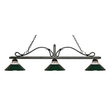 Z-Lite – Luminaire suspendu Melrose pour îlot/table de billard 114-3GB-RDG, 3 amp., verre strié transparent et vert foncé