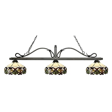 Z-Lite – Luminaire suspendu Melrose pour îlot/table de billard 114-3GB-Z14-33, 3 amp., Tiffany multicolore