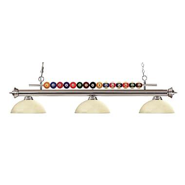 Z-Lite – Luminaire suspendu Shark pour îlot/table de billard 170BN-DGM14, 3 amp., dôme, marbre doré