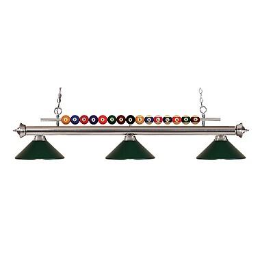 Z-Lite – Luminaire suspendu Shark pour îlot/table de billard 170BN-MDG, 3 amp., vert foncé