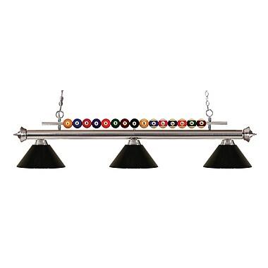Z-Lite – Luminaire suspendu Shark pour îlot/table de billard 170BN-PBK, 3 amp., noir