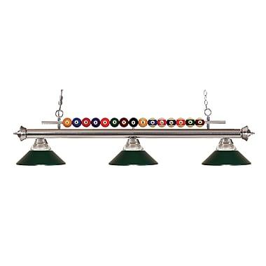 Z-Lite – Luminaire suspendu Shark pour îlot/table de billard 170BN-RDG, 3 amp., verre strié transparent et métal vert foncé