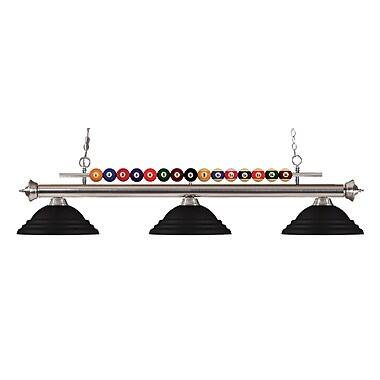 Z-Lite – Luminaire suspendu Shark pour îlot/table de billard 170BN-SMB, 3 amp., noir mat à relief
