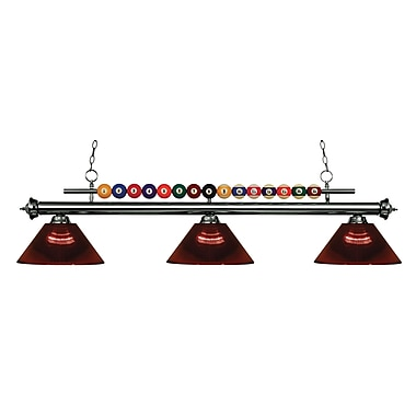Z-Lite – Luminaire suspendu Shark pour îlot/table de billard 170GM-ARBG, 3 amp., acrylique bourgogne