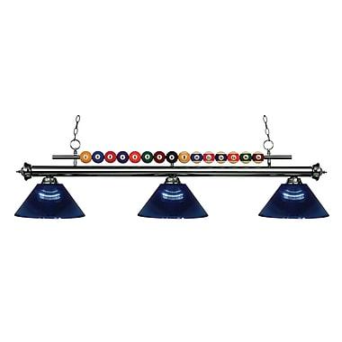 Z-Lite – Luminaire suspendu Shark pour îlot/table de billard 170GM-ARDB, 3 amp., acrylique bleu foncé