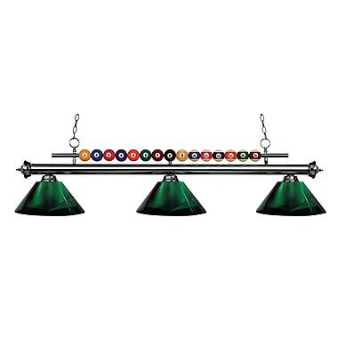 Z-Lite – Luminaire suspendu Shark pour îlot/table de billard 170GM-ARG, 3 amp., acrylique vert
