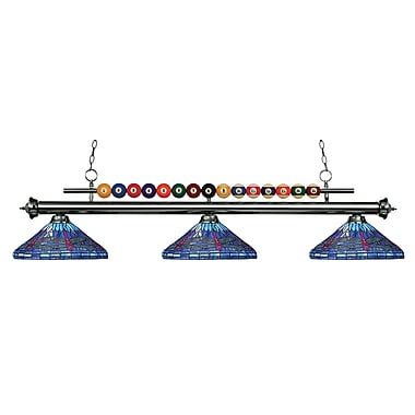 Z-Lite – Luminaire suspendu Shark pour îlot/table de billard 170GM-D16-1, 3 amp., Tiffany multicolore
