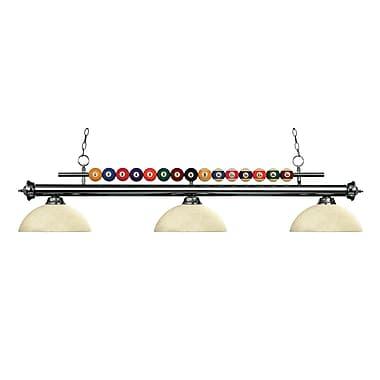 Z-Lite – Luminaire suspendu Shark pour îlot/table de billard 170GM-DGM14, 3 amp., dôme, marbre doré