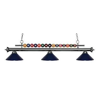 Z-Lite – Luminaire suspendu Shark pour îlot/table de billard 170GM-MNB, 3 amp., bleu marine
