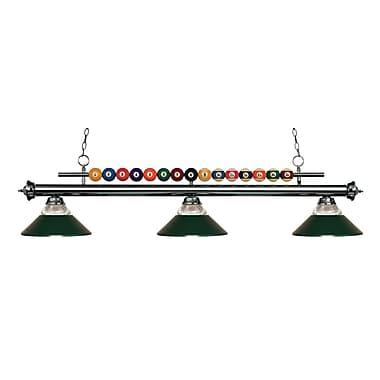 Z-Lite – Luminaire suspendu Shark pour îlot/table de billard 170GM-RDG, 3 amp., verre strié transparent et métal vert foncé