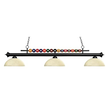 Z-Lite – Luminaire suspendu Shark pour îlot/table de billard 170MB-DGM14, 3 amp., Tiffany multicolore