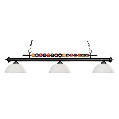 Z-Lite – Luminaire suspendu Shark pour îlot/table de billard 170MB-DWL14, 3 amp., dôme, lin blanc
