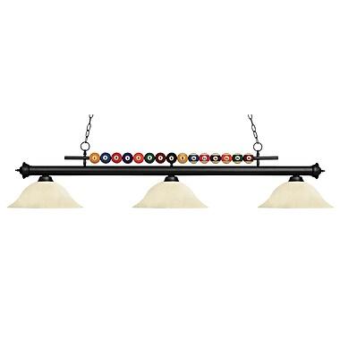 Z-Lite – Luminaire suspendu Shark pour îlot/table de billard 170MB-GM16, 3 amp., marbre doré