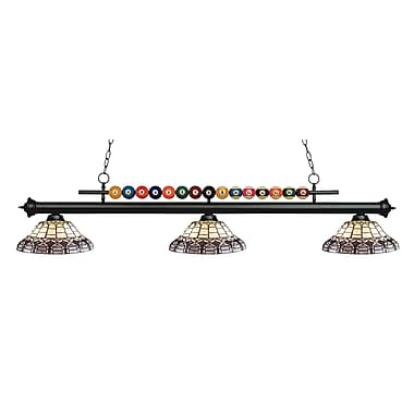Z-Lite – Luminaire suspendu Shark pour îlot/table de billard 170MB-H14-4, 3 amp., Tiffany multicolore