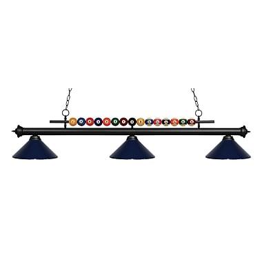 Z-Lite – Luminaire suspendu Shark pour îlot/table de billard 170MB-MNB, 3 amp., bleu marine