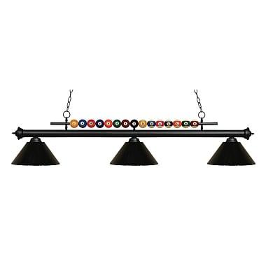Z-Lite – Luminaire suspendu Shark pour îlot/table de billard 170MB-PBK, 3 amp., noir