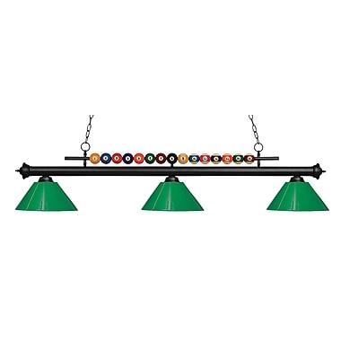 Z-Lite – Luminaire suspendu Shark pour îlot/table de billard 170MB-PGR, 3 amp., vert