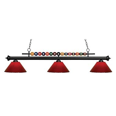 Z-Lite – Luminaire suspendu Shark pour îlot/table de billard 170MB-PRD, 3 amp., rouge