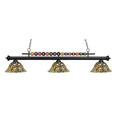 Z-Lite – Luminaire suspendu Shark pour îlot/table de billard 170MB-R14A, 3 amp., Tiffany multicolore