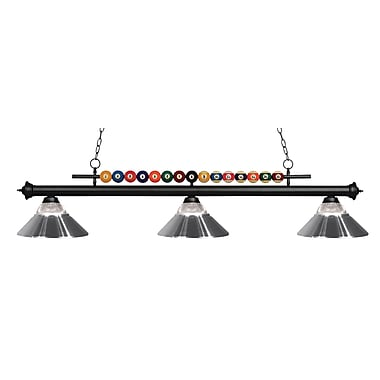 Z-Lite – Luminaire suspendu Shark pour îlot/table de billard 170MB-RCH, 3 amp., verre strié transparent et chrome