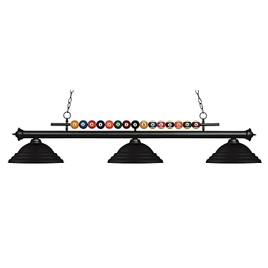 Z-Lite – Luminaire suspendu Shark pour îlot/table de billard 170MB-SMB, 3 amp., noir mat à relief