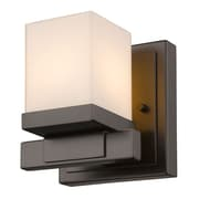Z-Lite Cadiz Wall Sconce Light, Bronze, Matte Opal Glass Shade (1913-1S-BRZ-LED)