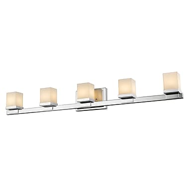 Z-Lite Cadiz Vanity Light, Chrome, Matte Opal Glass Shade (1913-5V-CH-LED)