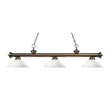 Z-Lite – Luminaire suspendu Riviera au fini laiton antique pour îlot/table de billard 200-3AB-AMO14, 3 amp., marbre doré