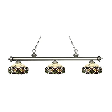 Z-Lite – Luminaire suspendu Riviera argenté antique pour îlot/table de billard 200-3AS-Z14-33, 3 amp., Tiffany multicolore