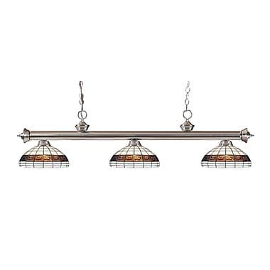 Z-Lite – Luminaire suspendu Riviera au fini nickel brossé 200-3BN-F14-1, 3 amp., Tiffany multicolore