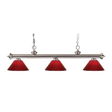 Z-Lite – Luminaire suspendu Riviera au fini nickel brossé pour îlot/table de billard 200-3BN-PRD, 3 amp., rouge