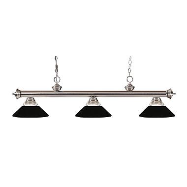 Z-Lite – Luminaire suspendu Riviera au fini nickel brossé 200-3BN-RMB, 3 amp., verre strié transparent et métal noir mat
