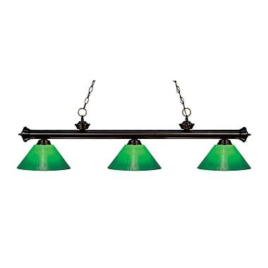 Z-Lite – Luminaire suspendu Riviera au fini bronze pour îlot/table de billard 200-3BRZ-GCG14, 3 amp., boîtier vert