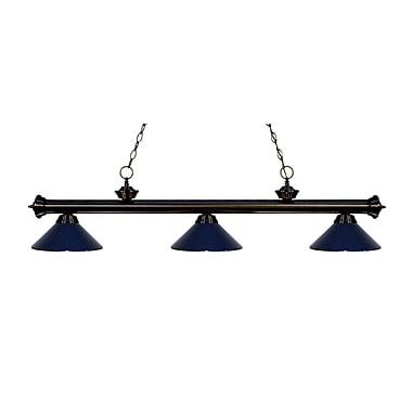 Z-Lite – Luminaire suspendu Riviera au fini bronze pour îlot/table de billard 200-3BRZ-MNB, 3 amp., bleu marine