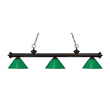 Z-Lite – Luminaire suspendu Riviera au fini bronze pour îlot/table de billard 200-3BRZ-PGR, 3 amp., vert