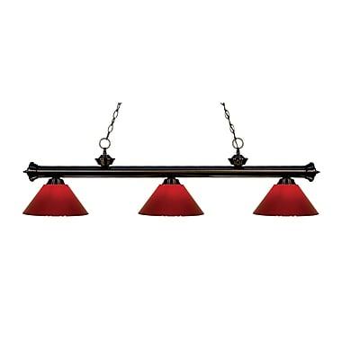 Z-Lite – Luminaire suspendu Riviera au fini bronze pour îlot/table de billard 200-3BRZ-PRD, 3 amp., rouge