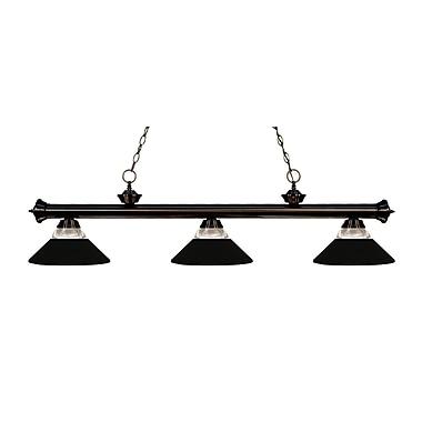 Z-Lite – Luminaire suspendu Riviera au fini bronze 200-3BRZ-RMB, 3 amp., verre strié transparent et métal noir mat