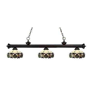 Z-Lite – Luminaire suspendu Riviera au fini bronze 200-3BRZ-Z14-33, 3 amp., Tiffany multicolore