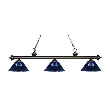 Z-Lite – Luminaire suspendu Riviera au fini bronze doré pour îlot/table de billard 200-3GB-ARDB, 3 amp., bleu foncé