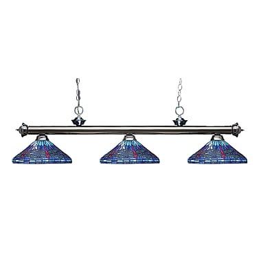 Z-Lite – Luminaire suspendu Riviera au fini gris métallique 200-3GM-D16-1, 3 amp., Tiffany multicolore