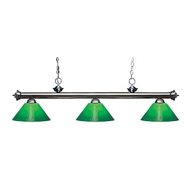 Z-Lite – Luminaire suspendu Riviera au fini gris métallique pour îlot/table de billard 200-3GM-GCG14, 3 amp., boîtier vert