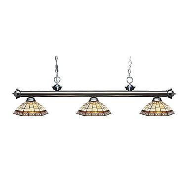 Z-Lite – Luminaire suspendu Riviera au fini gris métallique 200-3GM-Z14-35, 3 amp., Tiffany multicolore