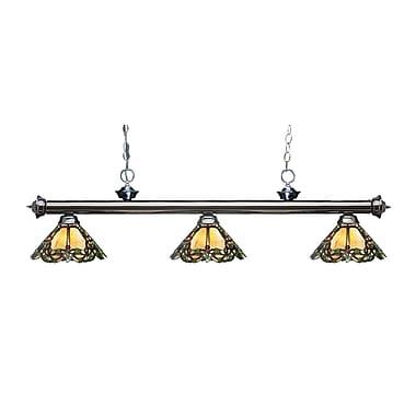 Z-Lite – Luminaire suspendu Riviera au fini gris métallique 200-3GM-Z14-37, 3 amp., Tiffany multicolore