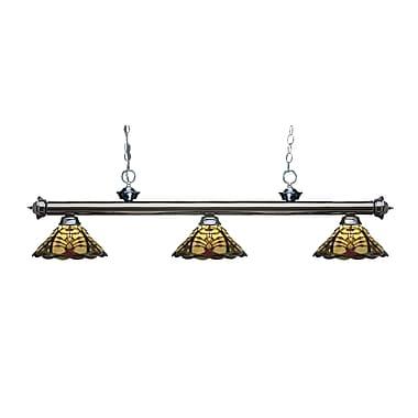 Z-Lite – Luminaire suspendu Riviera au fini gris métallique 200-3GM-Z14-46, 3 amp., Tiffany multicolore