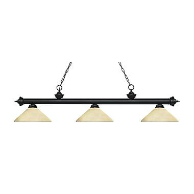 Z-Lite – Luminaire suspendu Riviera au fini noir mat pour îlot/table de billard 200-3MB-AGM14, 3 amp., marbre doré