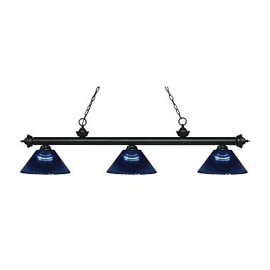 Z-Lite – Luminaire suspendu Riviera au fini noir mat pour îlot/table de billard 200-3MB-ARDB, 3 amp., bleu foncé