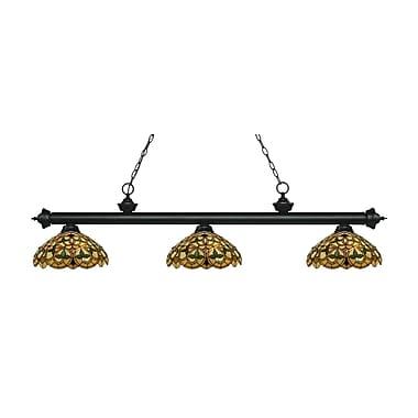 Z-Lite – Luminaire suspendu Riviera au fini noir mat 200-3MB-C14, 3 amp., Tiffany multicolore